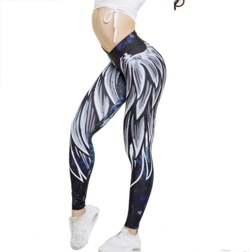 9cd0b9355282a Angel's wing Print Yoga Pants 3D leggings workout activewear Gym bloomers  Pant High Waisted sports tights outdoor girls suits