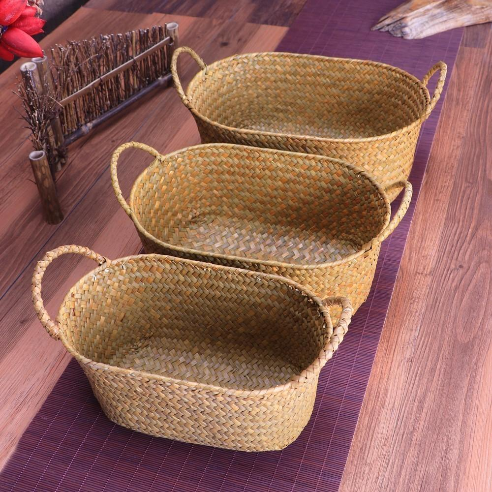 2019 Wicker Weaving Storage Basket For Kitchen Handmade Fruit Dish