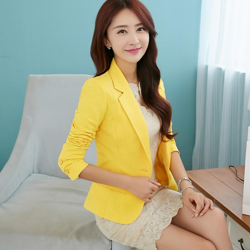 Compre Nice Preto Azul Amarelo Formal Feminino Blazer Casacos Curto Blasers  Mujer Mulheres Fino Longo Luva Mulher Ternos Casaco Jaqueta ZY4887 De  Edmund02 58758851445