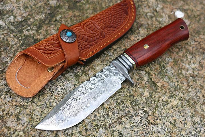 2018 Yeni Şam Survival Düz Bıçak Ahşap kolu Açık Kamp Avcılık Sabit Bıçak Bıçaklar Mutfak Bıçağı Ile Deri Kılıf