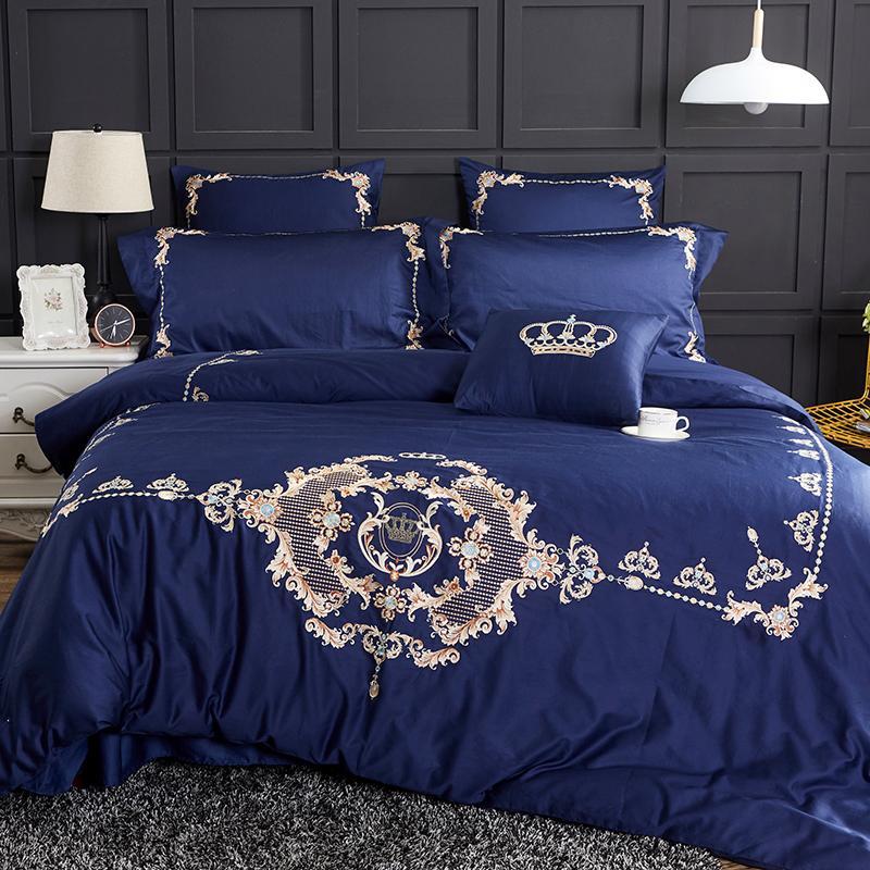 Großhandel Blau Luxus Golden Crown Stickerei ägyptische Baumwolle