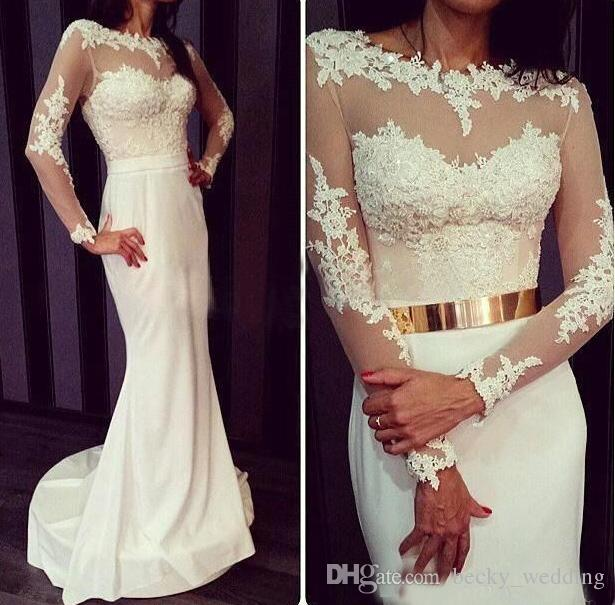 Lace Bridal Wedding Dress with Gold Belt