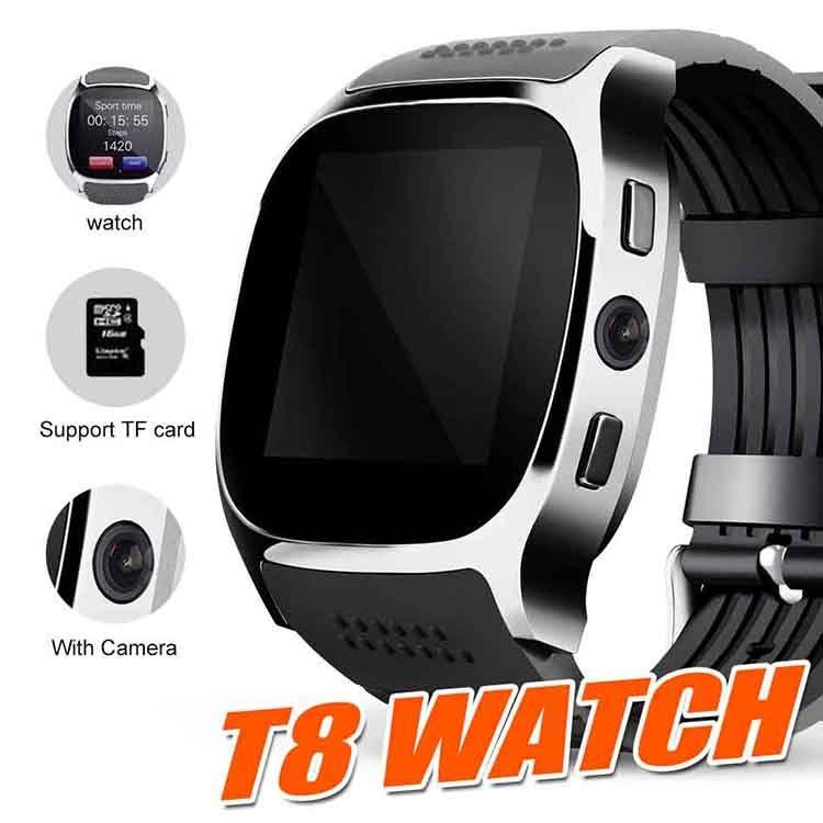 Montre Bluetooth Smart T8 pour Apple iPhone android Smartwatch Podomètre SIM Carte TF avec Message de Synchronisation d'appareil photo pk DZ09 Q18 ID115 Plus