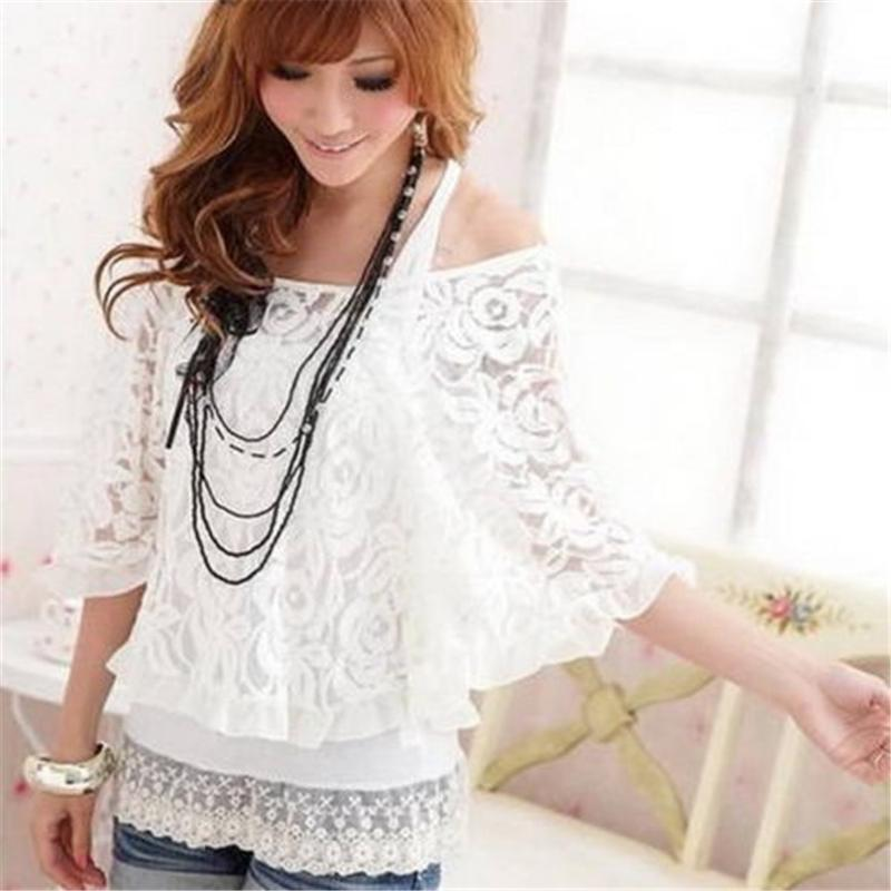 Fashion Women White Lace Floral Slash Neck Loose Casual Three Quarter Batwing Sleeve Tops Blouse Shirt