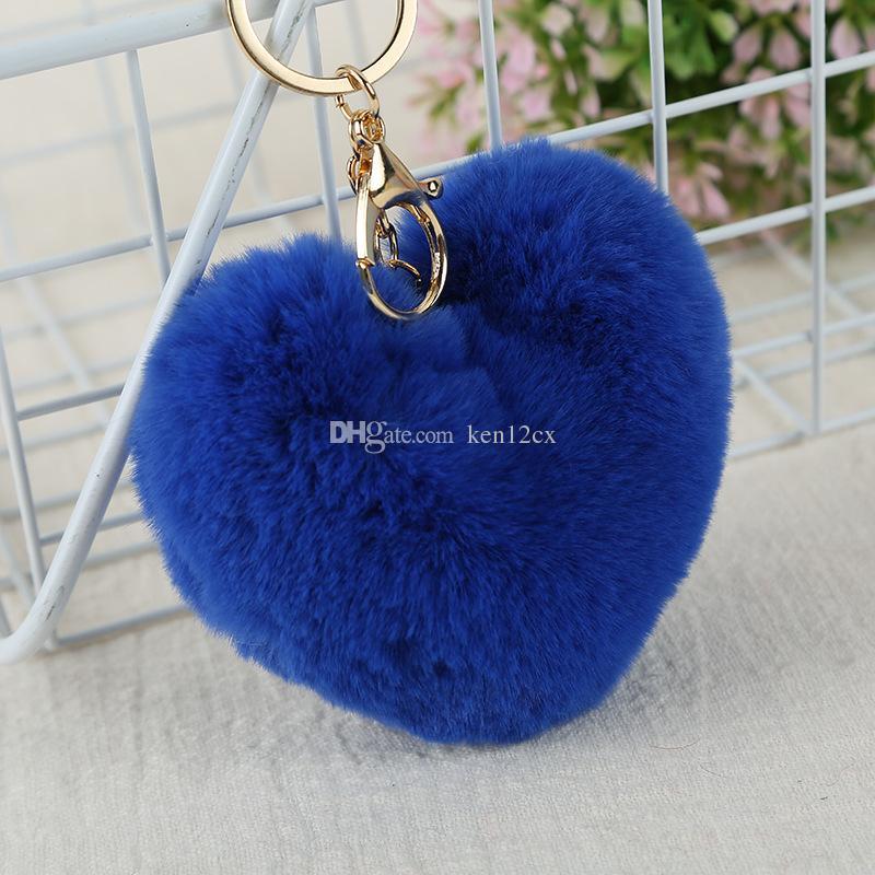 10CM Fluffy Fur pompom Keychain Soft Lovely Heart Shape Pompon faux bunny Rabbit Fur Pom Poms Ball Car Handbag Key Ring Gift