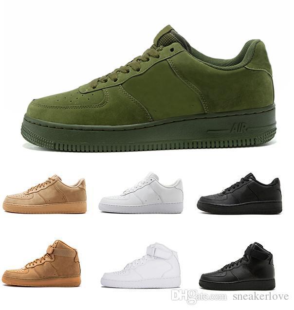 newest 9882e df7ac Compre Nike Air Force 1 Forces One Imagen Real Ver Descripción Negro Bajo  Corte Alto Fuerzas Hombres Mujeres Deportes Zapatillas Zapatillas Un Patín  Zapatos ...