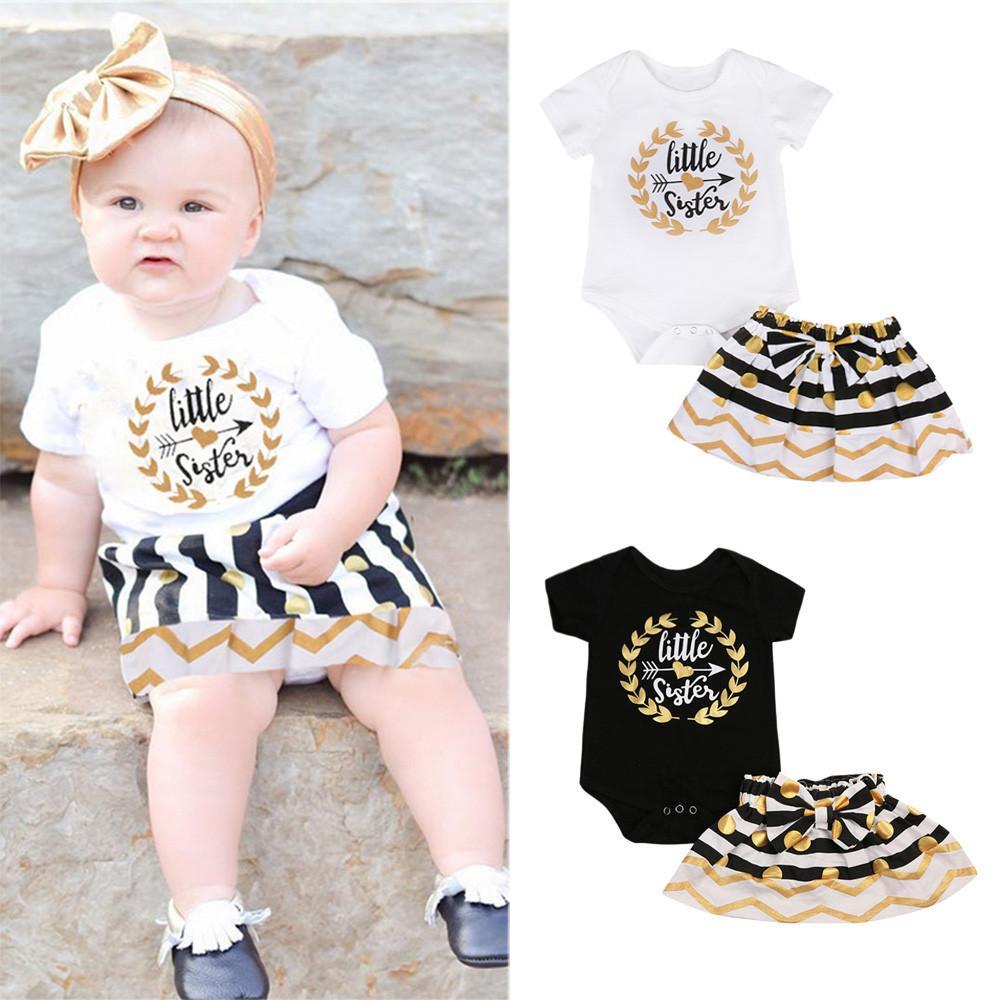 248451d99f75d Newborn Toddler Infant Kids Baby Girls Little Sister Romper Pants Big  Sister T-shirt Skirt Match Outfits 2pcs Set Casual Clothes