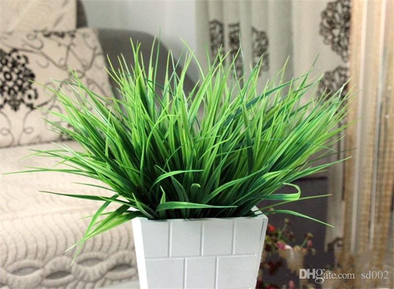 7 Gabel Frühling Gras Grün Künstliche Blatt Kunststoff Simulation Laub Für Hochzeit Dekorationen Blume Modische Zimmer Ornament Werkzeug 1 4xg X