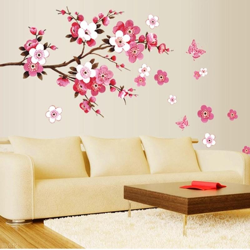 high quality useful removable wall sticker pink flower butterfly