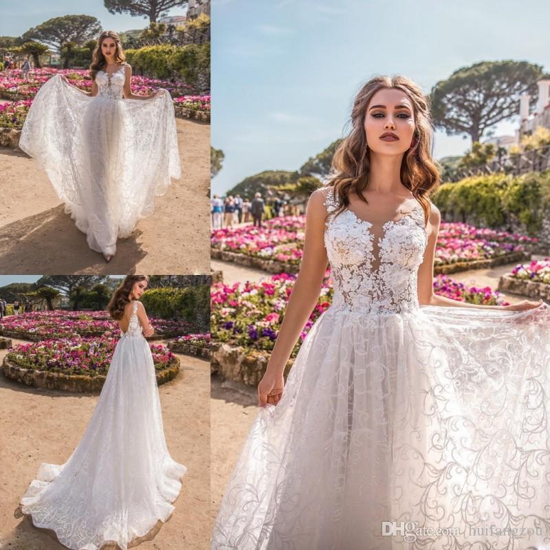 75f3db04d6f8e La Petra 2019 Summer Boho Wedding Dress Full Lace Floral Appliques Sheer  Neck Backless Bridal Gowns For Wedding Events