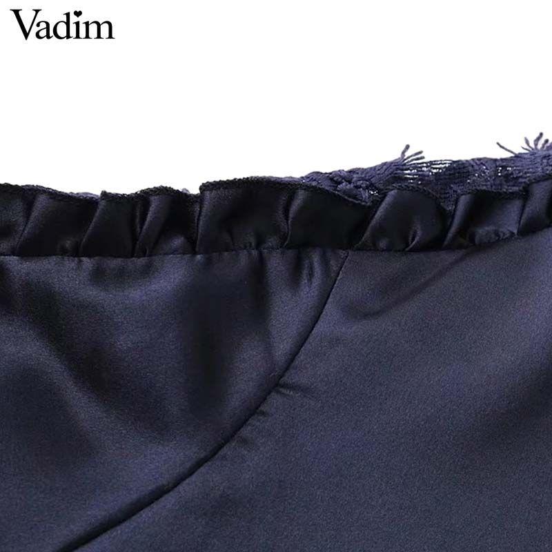 Vadim donne dolce pizzo patchwork in raso camicetta cintura cravatta a farfalla ruffled manica lunga o collo camicia femminile autunno top blusas LT2500