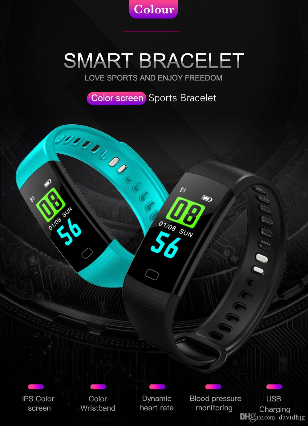 c322adb2f264 Goral Y5 Schermo a Colori Vigilanza Del Wristband Intelligente Elettronica  Braccialetto Impermeabile Frequenza Cardiaca Attività Fitness VS