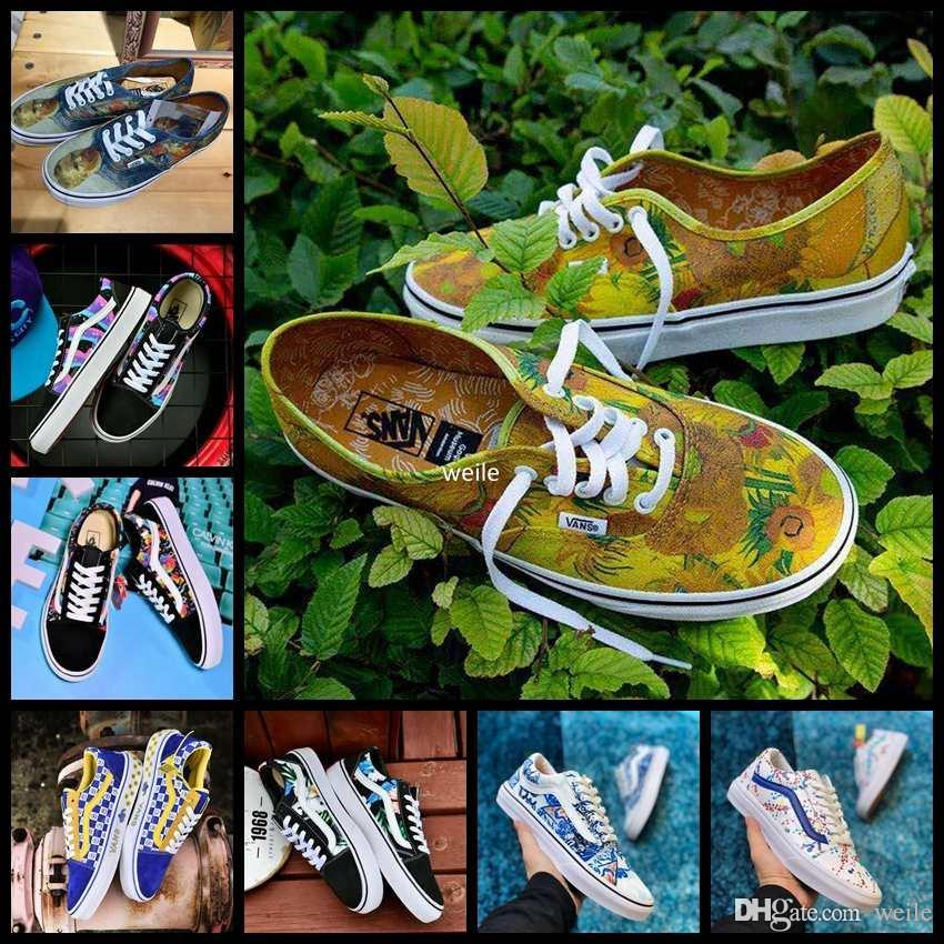 b3fcb6e25d 2019 2018 Fashion Museum X Sunflower Old Skool Mens Womens Casual Shoes  Vault X Custom Graffiti Flowers Canvas Skateboard Sport Sneakers From  Weile