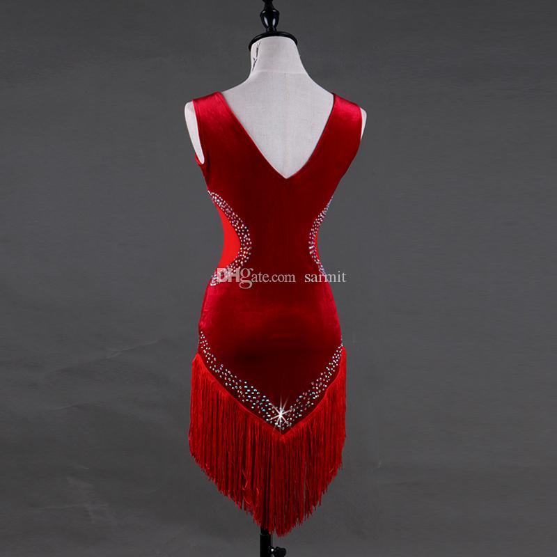 Kadife Latin Dans Elbise Kostümleri Kadınlar Sutyen Fincan İç Püsküllü ile Salsa Tango D368 Kırmızı Rhinestones