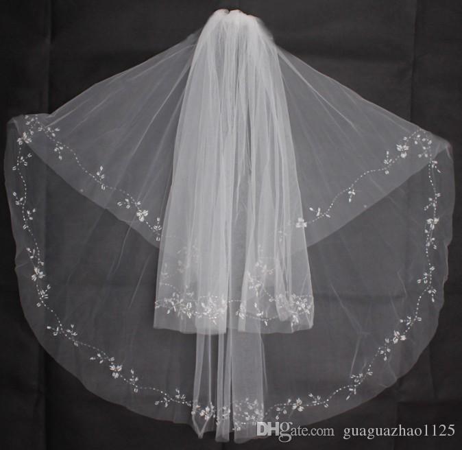 Coréen nouveau voile de mariage double manuel perlé Accessoires de robe de dentelle blanc pailleté en gros
