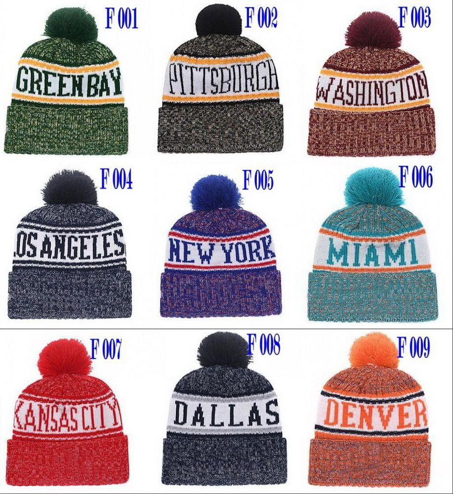 38ac7b625c6 2018 New Football Beanies Winter Sideline Sport Knit Hats Dallas New York  Pom Pom Beanie Team Knits Mix Match Order All Skull Caps Football Beanies  Winter ...