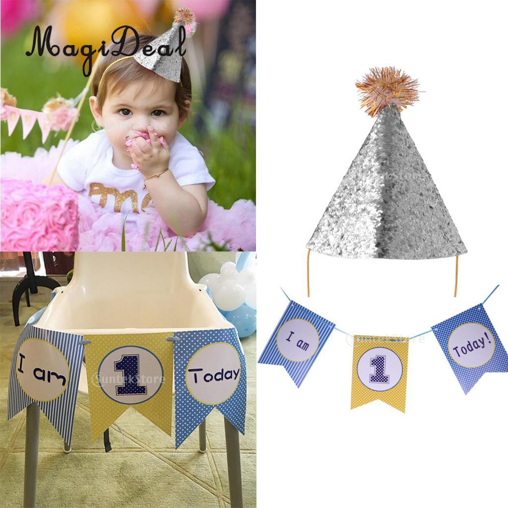 First 1st Birthday High Chair Decoration I Am 1 Today Boys Flag Garland Age One Banner Sequined Party Cone Hat Headband Hats Singapore