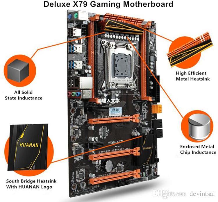 HUANAN Deluxe X79 Motherboard LGA2011 3*PCI-E x16 Slots 2*SATA3.0 Support 4*16G REG ECC Memory And Xeon E5 Processor 7.1 Sound Track Crossf