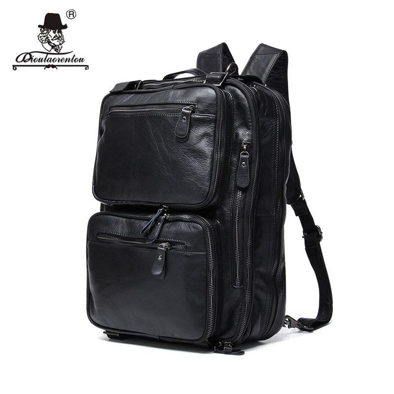 DIOULAORENTOU 15.6 Vintage Men S Leather Backpacks Multifunctional Travel  Black Backpack Laptop Rucksack Women Dual Use Tote Back Pack Mochilas  Jansport ... 4ca9c298c2c04