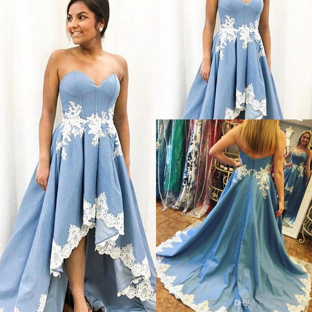Blue High Low Satin Long Prom Dresses 2018 Sweetheart Lace Appliques ...