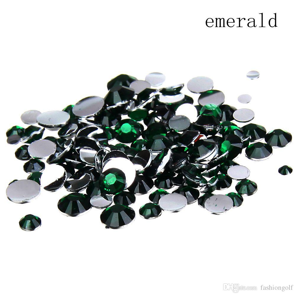 6550ea3d73 Emerald Resin Rhinestones 2-8mm Round Flatback Non Hotfix Glue On Crystals  And Stones Appliques For Wedding Dress