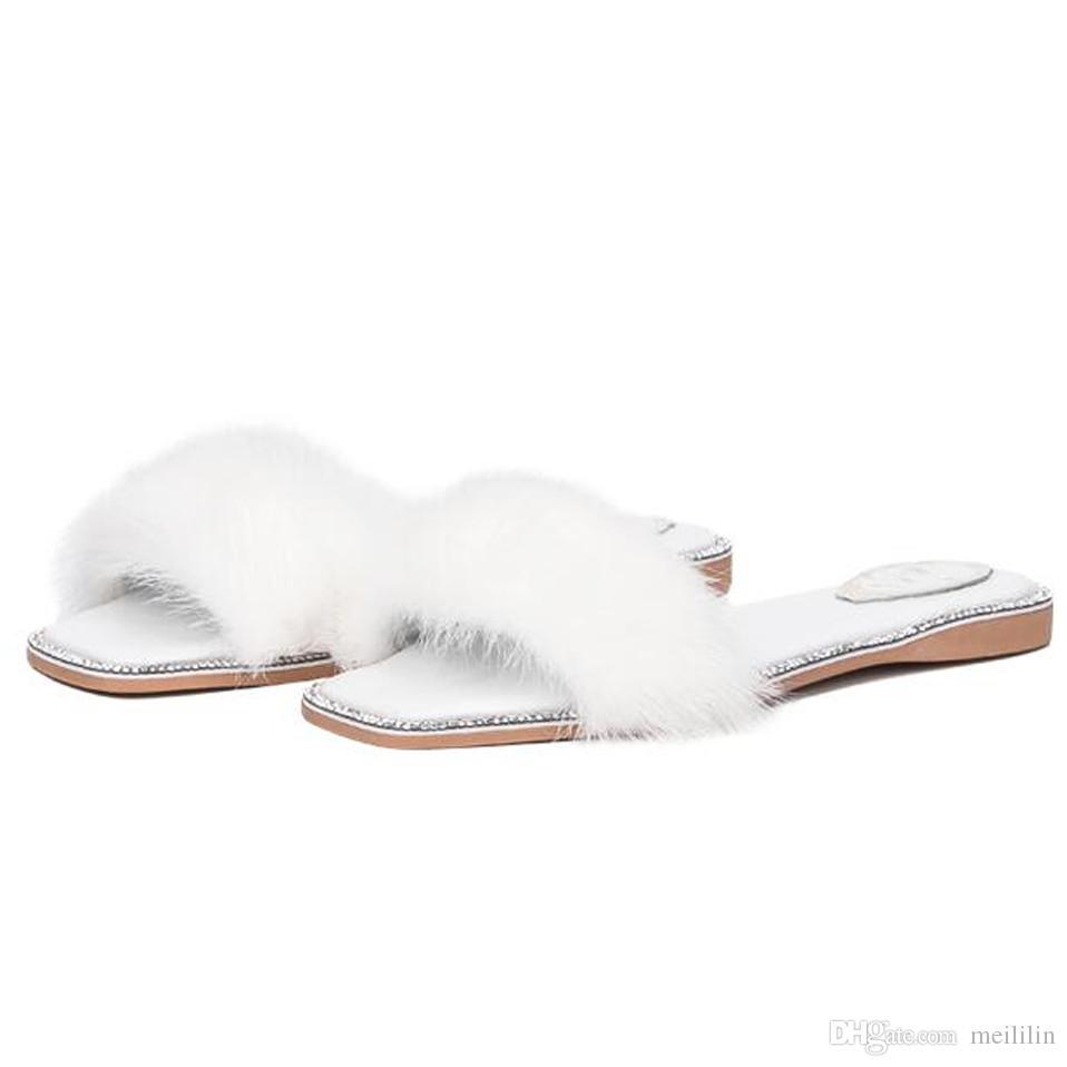 Moda strass peep toe couro genuíno mulas sapatos de verão das mulheres de luxo vison cabelo liso com chinelos mulheres