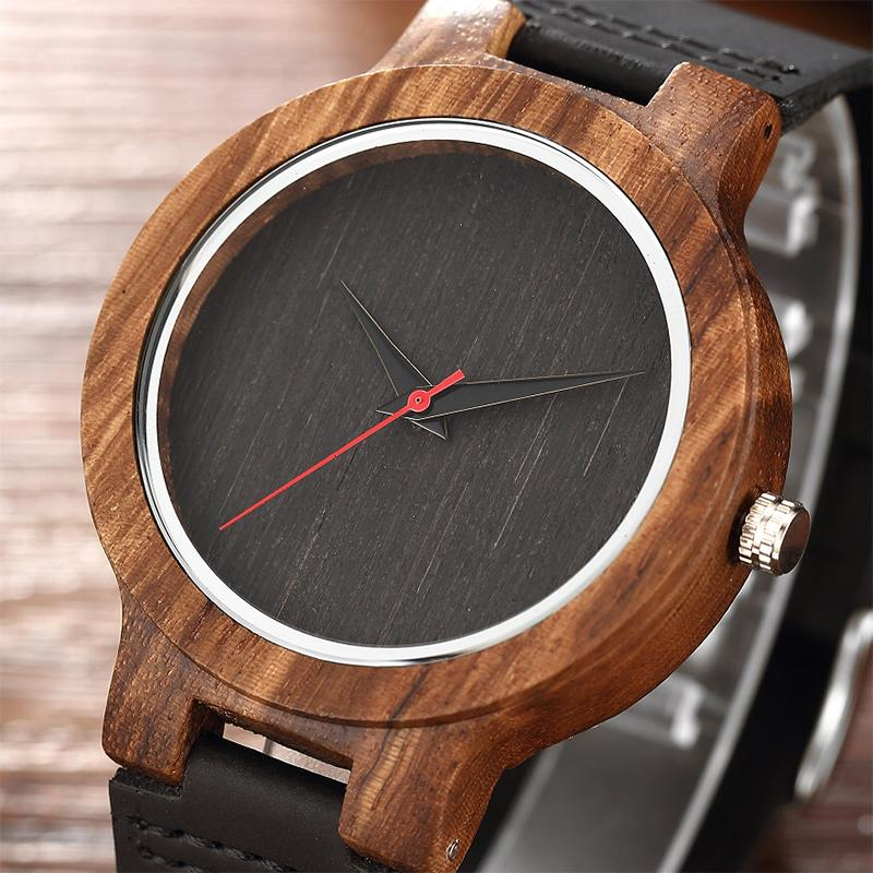 8bee16f31ac Simple No Scale Dial Wood Watches Male Natural Wooden Case Quartz Men Wrist  Watches With Leather Strap Relogio Masculino Watches Sale Sale Watches From  ...