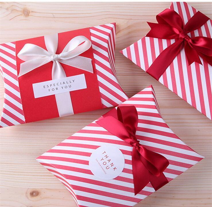 candy dessert bag chocolate pillow like red strip paper gift box wedding party decoration diy favor baby shower christmas gift sacks christmas gift wrap