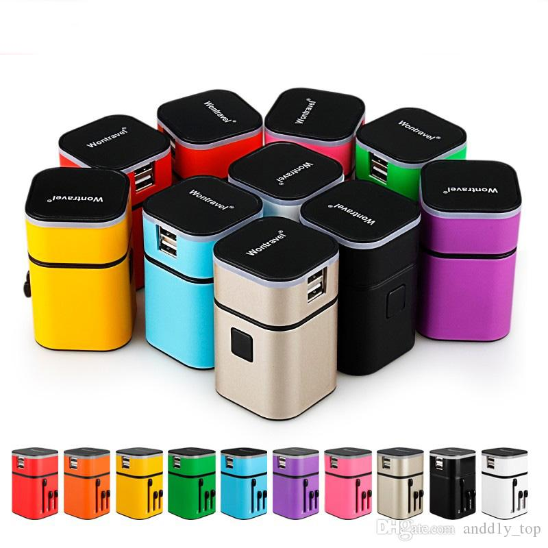 All in One International Plug Adapter 2 Porta USB World Travel veloce Adattatore caricabatterie CA con spina EU UK UK