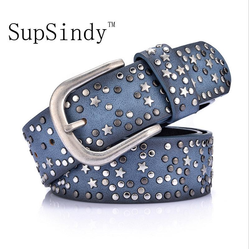 SupSindy woman belts Star geometric rivet pin buckle PU belt for women European fashion top quality faux leather strap for jeans S18101806