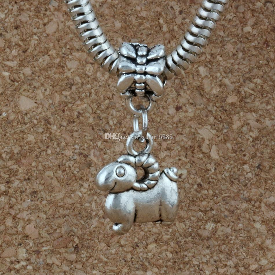 MIC Dangle Ancient silver sheep Charm Big Hole Beads Fit European Charm Bracelet Jewelry 12x27mm A-227a