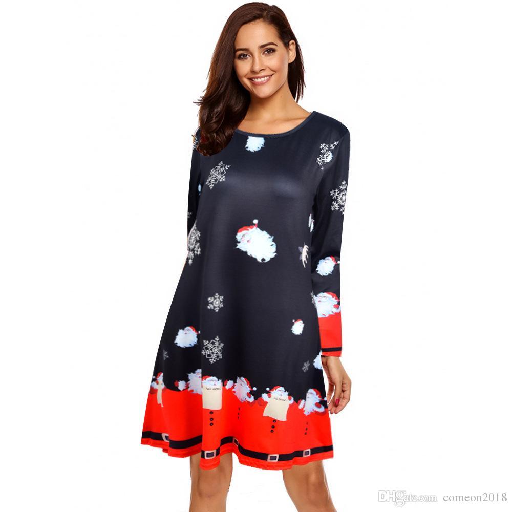 9d2719f699377 Designer Women Clothes Party-dress Plus Size Women A Line Dress Long Sleeve  Autumn Print Crew Neck Casual Bodycon Vintage Dresses Vestidos Women Dresses  ...