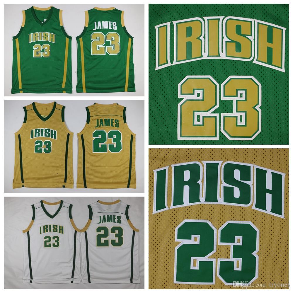 ac303dcf7b6b 2019 Mens St. Vincent Mary High School Irish LeBron James High School  Basketball Jersey  23 Cheap LeBron James Green Stitched Basketball Shirts  From Tryones ...