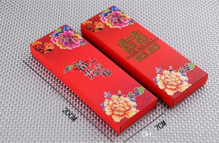 Vajilla de acero inoxidable Felicidad doble Color rojo Cucharas Conjuntos de palillos Regalos para el banquete de boda para invitados Invitación a favor 2 estilos
