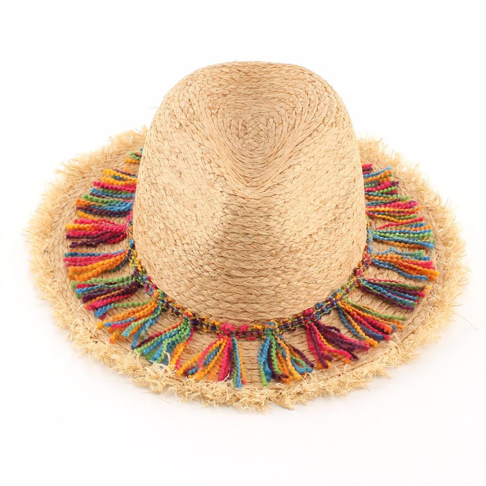 5e0dff7c78b Women Summer Tassel Sun Hats Ladies Natural Raffia Beach Straw Hat Panama  Fedoras Capeline Chapeaux Femme Knit Hats Bailey Hats From Saucy