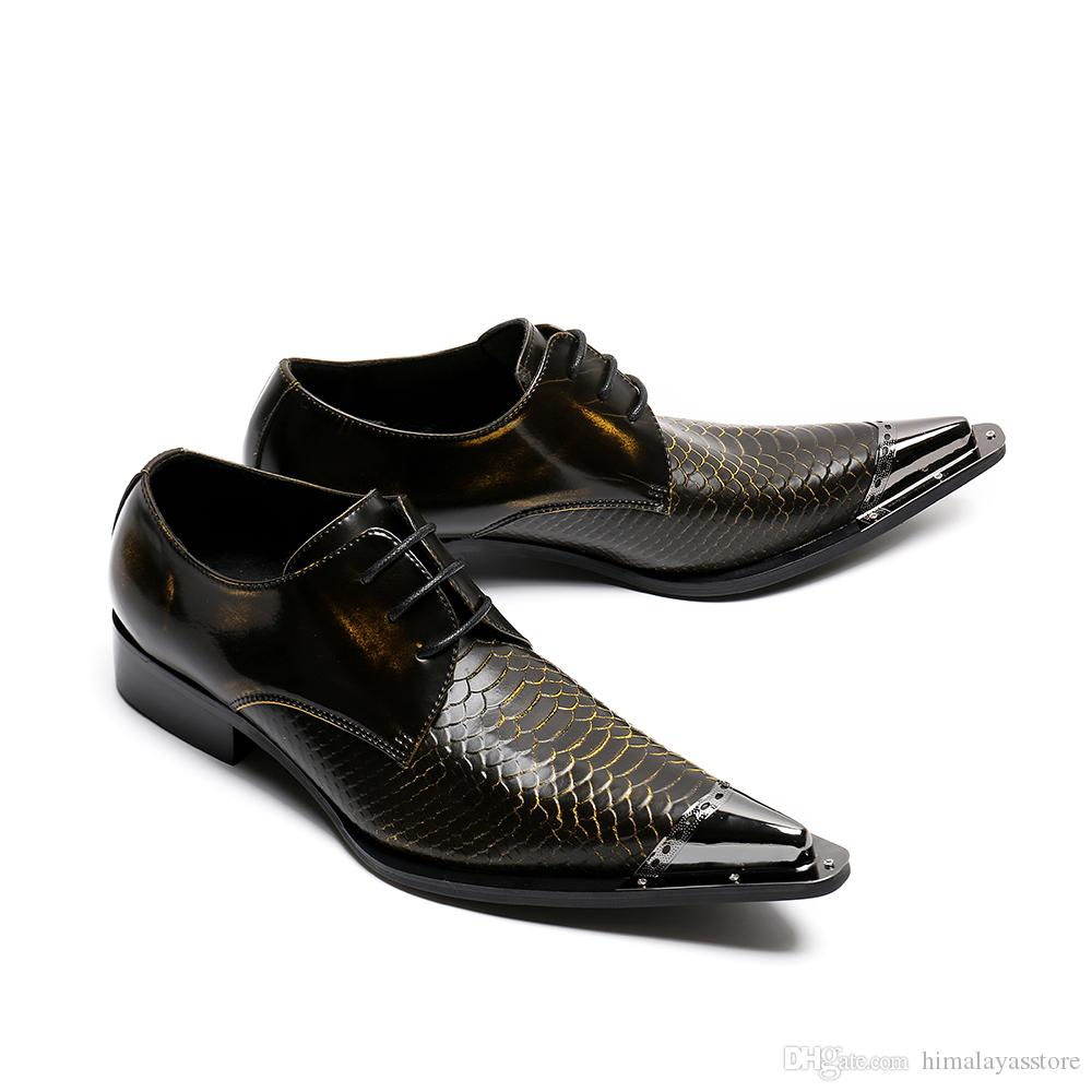 Handmade Pointed Toe Metal Tip Genuine Leather Men Dress Shoes Evening Party Wedding Shoes Hairdress Sexy Oxfords
