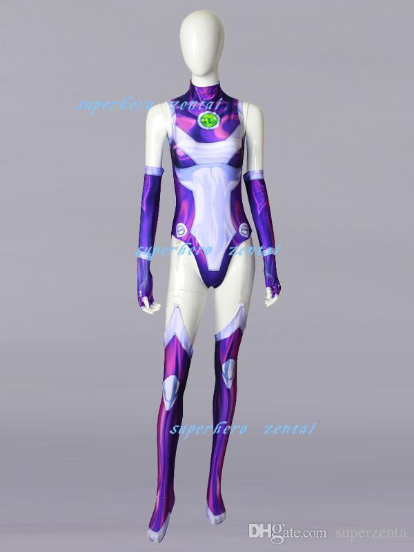 Compre Disfraz De Starfire Teen Titans 2018 Nuevo Estilo De Impresión 3D Spandex  Mujer   Chica Zentai Catsuit Superhero Disfraz De Cosplay Por Encargo A ... 73df55435c07