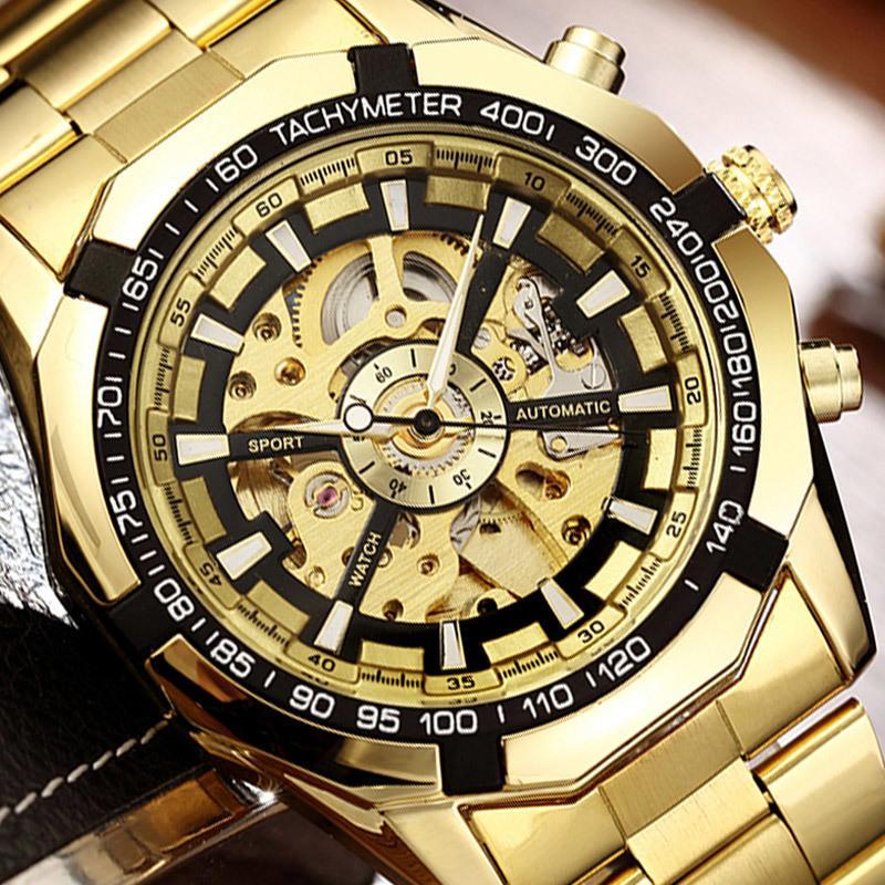 e34588ed44e Compre Esqueleto Mecânico Automático Relógio Vencedor Homens De Ouro  Relógios Pulseira De Aço Inoxidável Esportes De Luxo Relógio Masculino  Chinês Relógio ...