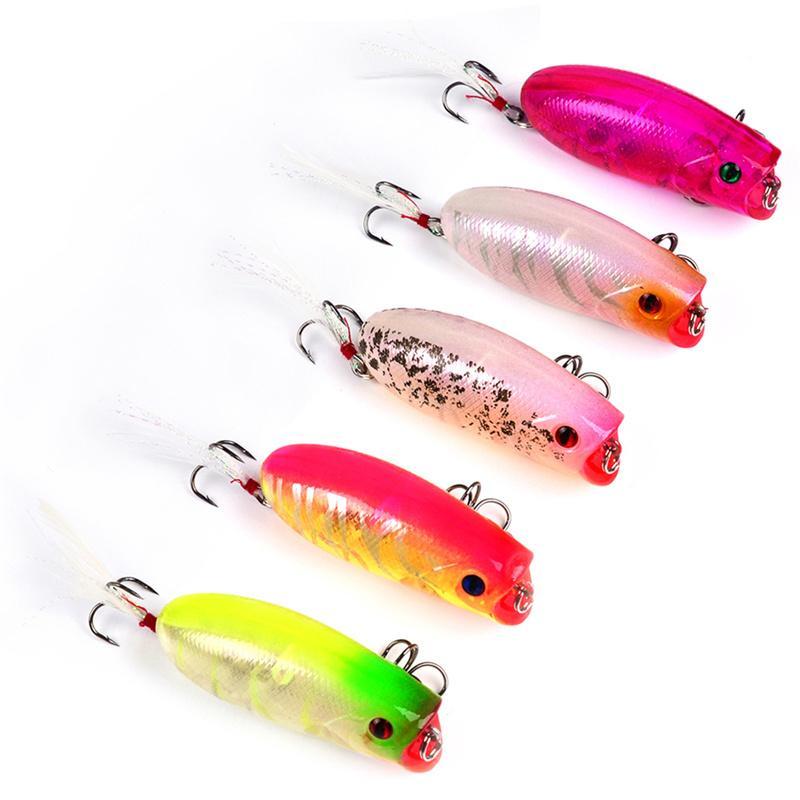 Kunststoff Chubby Künstliche Popper Schwimmende Fischköder 10,4g 5,7 cm Topwater Schwimmen Regenbogen Gemalte Laser Köder kleine bass Crankbaits