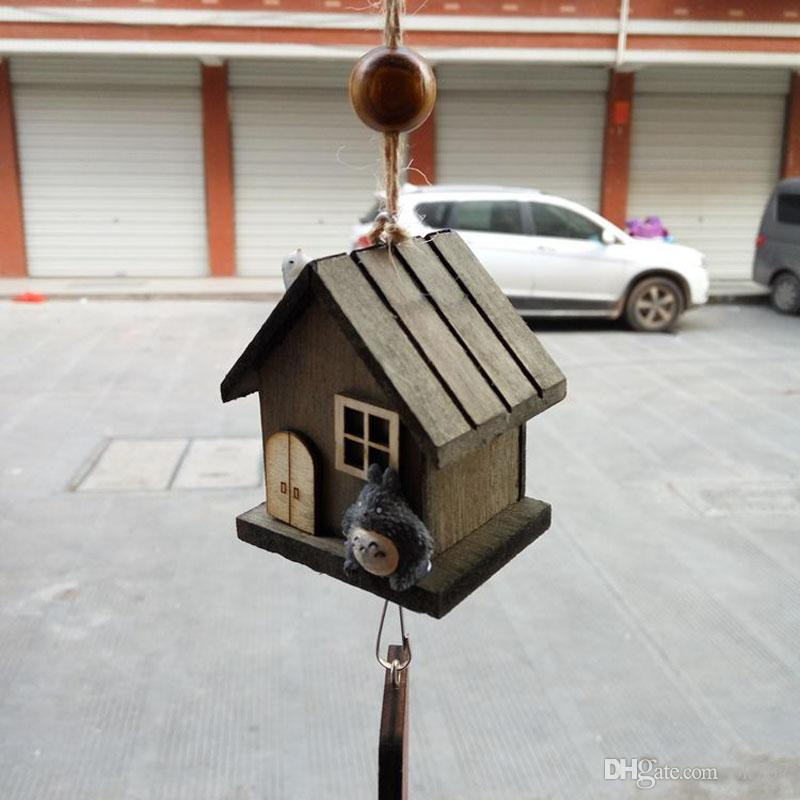 Hot New Wholesale- Japanese Totoro Wooden House Landscape Garden Outdoor Decor Wind Chime Bell