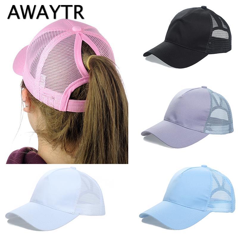 356c9ac70e1 AWAYTR 2018 Ponytail Baseball Cap Women Messy Bun Baseball Hat ...