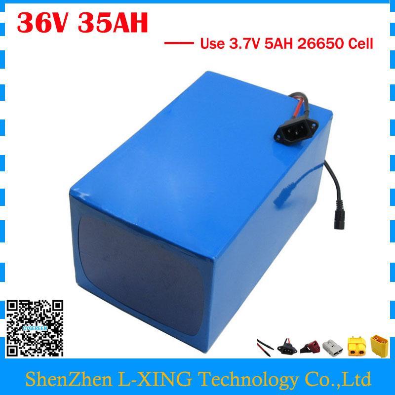 EU 미국 세금 없음 1800W 36V 35AH 전기 자전거 배터리 36V 35AH 전자 스쿠터 배터리 사용 3.7V 5AH 26650 셀 50A BMS