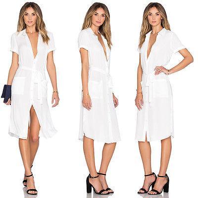 Mode Femmes Longues Maxi Col En V Poches Blouse Chemises Loose Bandage Party Cocktail Plus La Taille Manches Courtes Outfit Tops Shirt S-XXL
