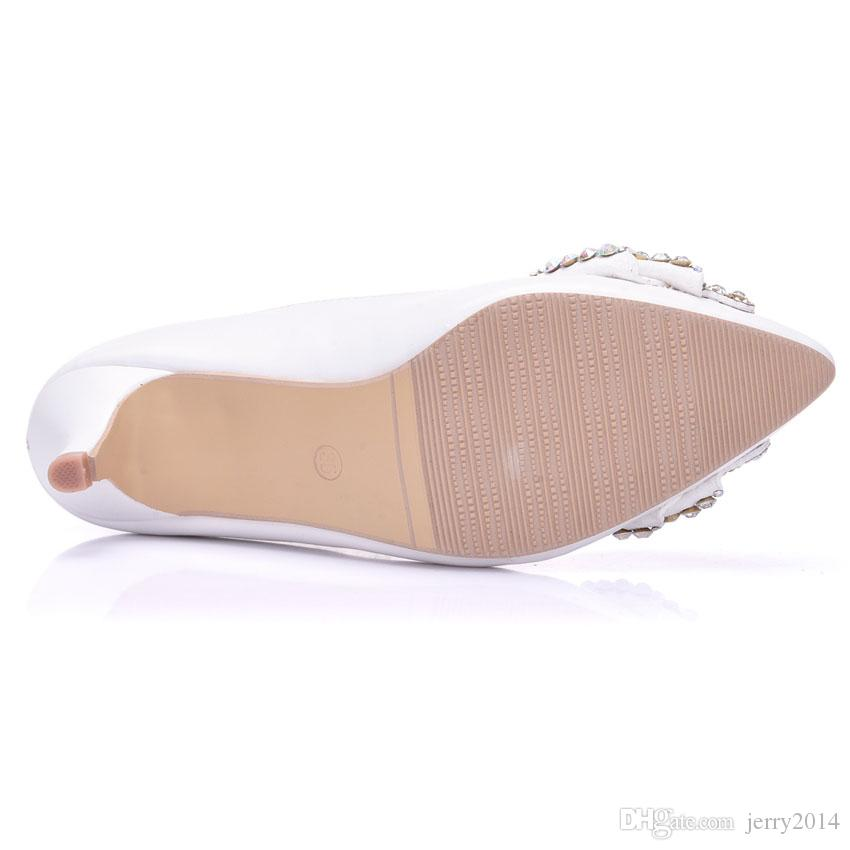 New Beautiful AB strass donne pompe a punta punta Bowtie scarpe da sposa bianche tacchi a mano Lady Plus Size