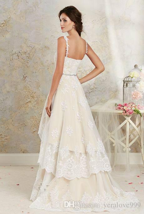 Zwei Stile Lace Country Brautkleider High Low Short Brautkleider Bodenlangen Stock Länge Multi Schichten böhmischen Kleider für Hochzeit