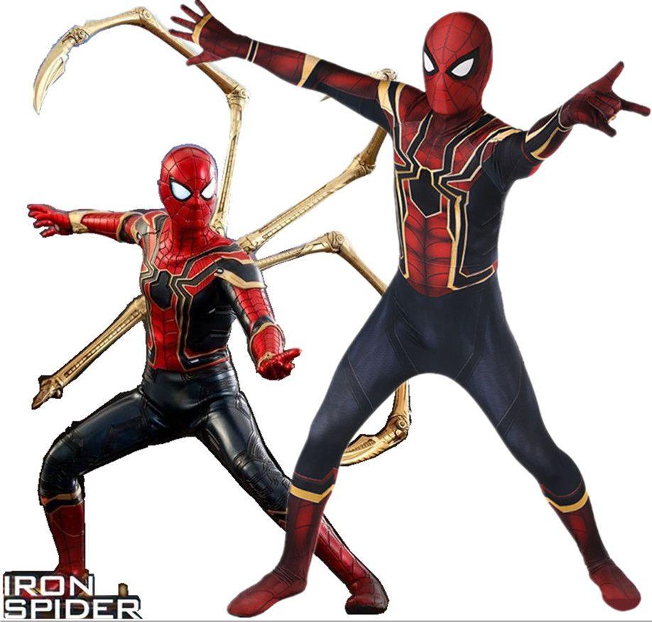 Avengers Infinity Krieg Eisen Spiderman Kostüm 3d Original Film Superheld Kostüm Fullbody Zentai Anzug Kapuze Getrennt
