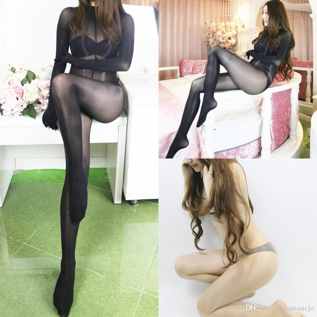 89f7a8f628d 2019 8D Bodysuit Super Shiny Glossy Full Bodystocking Long Sleeve With Five  Finger Gloves Crotch   Crotchless Black Red Beige From Fantasicjo
