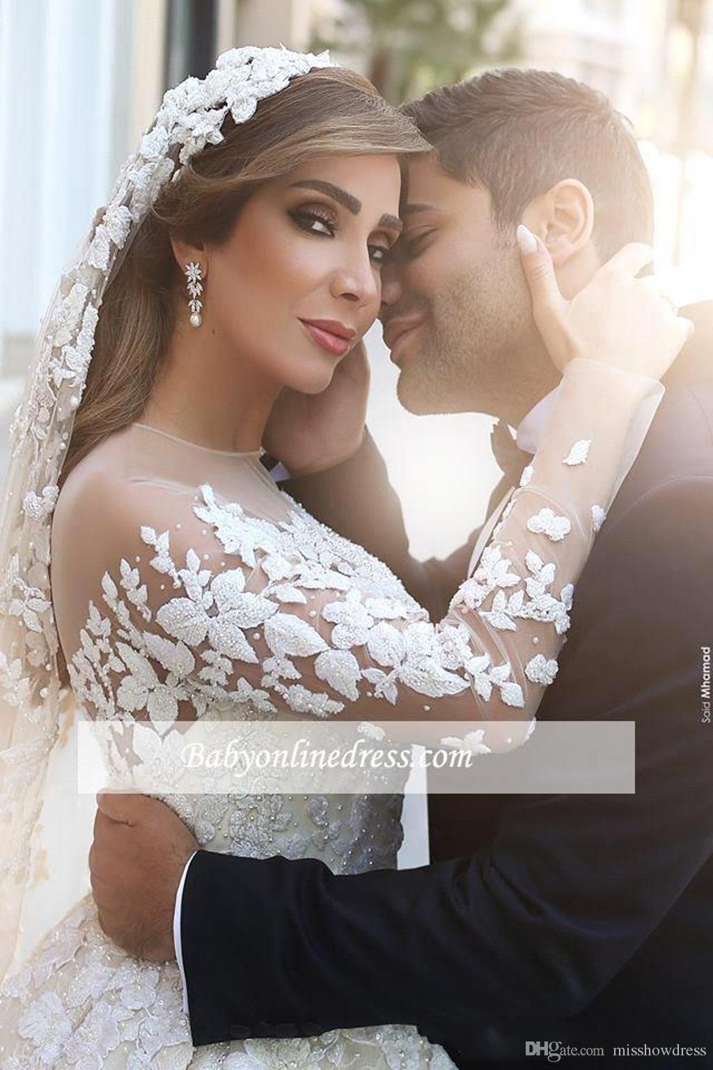 Sexy Sheer Jewel cou bal robe de mariage cristaux Ruches Illusion long train Appliques cathédrale manches Taille Plus Robes de mariée
