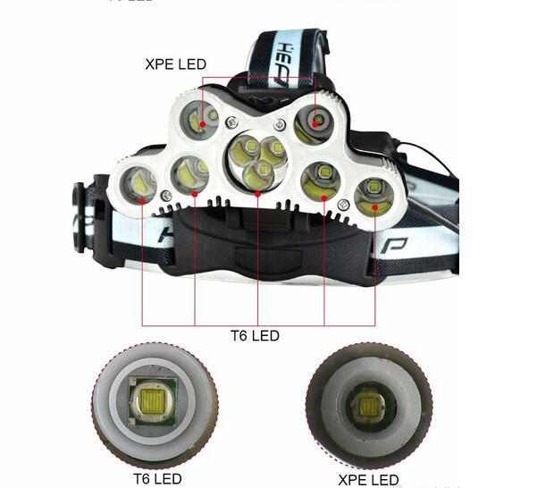 lampe frontale led 9 CREE XML T6 LED lampe frontale usb rechargeable 18650 haute puissance led lampe torche + 2 18650 batterie + câble