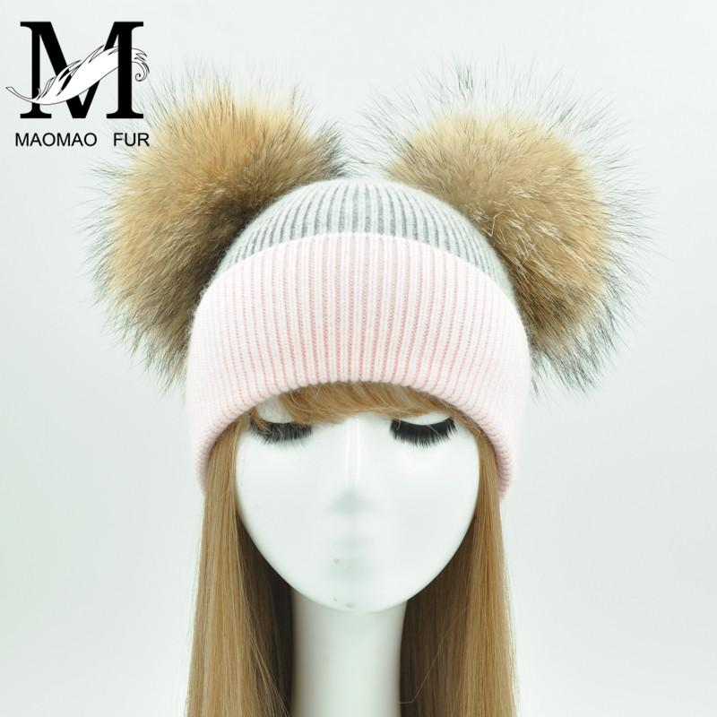2019 Real Fur Winter Hat Big Raccoon Fur Two Pom Pom Hat For Women Girls  Caps Knitted Beanies Cap Wholesale From Qingfengxu 0d98d654010